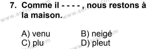 Fransızca 3 Dersi 2015-2016 Yılı 1. Dönem Sınavı 7. Soru