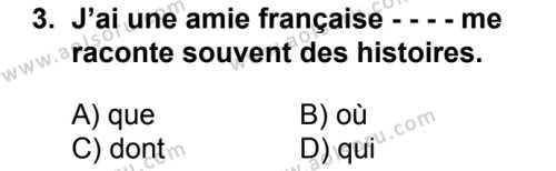 Fransızca 3 Dersi 2016-2017 Yılı 1. Dönem Sınavı 3. Soru
