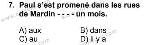 Fransızca 3 Dersi 2016-2017 Yılı 1. Dönem Sınavı 7. Soru