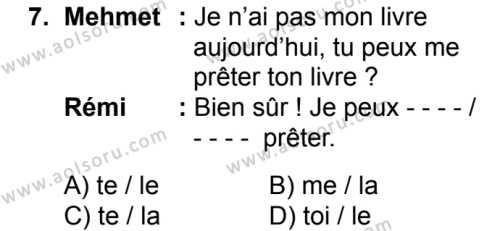Fransızca 3 Dersi 2018-2019 Yılı 1. Dönem Sınavı 7. Soru