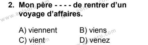 Fransızca 3 Dersi 2019 - 2020 Yılı 2. Dönem Sınav Soruları 2. Soru