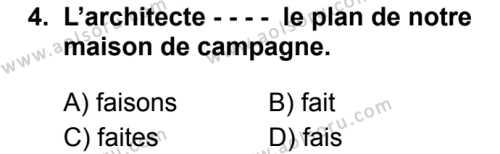 Fransızca 3 Dersi 2019 - 2020 Yılı 2. Dönem Sınav Soruları 4. Soru