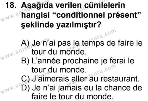 Fransızca 4 Dersi 2011-2012 Yılı 1. Dönem Sınavı 18. Soru