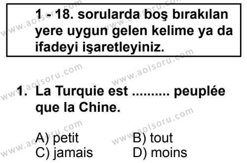 Fransızca 4 Dersi 2011 - 2012 Yılı Ek Sınav Soruları 1. Soru