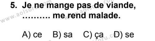 Fransızca 4 Dersi 2012-2013 Yılı 1. Dönem Sınavı 5. Soru