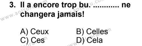 Fransızca 4 Dersi 2013-2014 Yılı 1. Dönem Sınavı 3. Soru