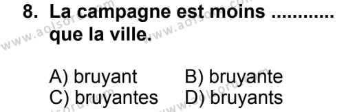 Fransızca 4 Dersi 2013-2014 Yılı 1. Dönem Sınavı 8. Soru