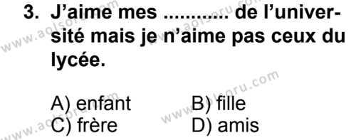 Fransızca 4 Dersi 2013 - 2014 Yılı 3. Dönem Sınav Soruları 3. Soru