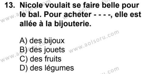 Fransızca 4 Dersi 2018-2019 Yılı 1. Dönem Sınavı 13. Soru