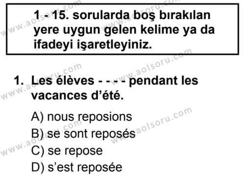 Fransızca 4 Dersi 2019 - 2020 Yılı 1. Dönem Sınav Soruları 1. Soru