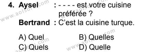 Fransızca 4 Dersi 2019 - 2020 Yılı 1. Dönem Sınav Soruları 4. Soru