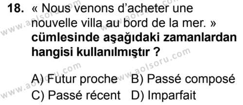Fransızca 4 Dersi 2019-2020 Yılı 1. Dönem Sınavı 18. Soru