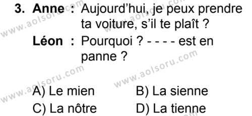 Fransızca 4 Dersi 2019 - 2020 Yılı 2. Dönem Sınav Soruları 3. Soru