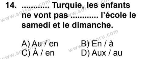 Fransızca 5 Dersi 2011-2012 Yılı 1. Dönem Sınavı 14. Soru