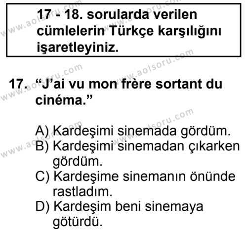 Fransızca 5 Dersi 2011-2012 Yılı 1. Dönem Sınavı 17. Soru
