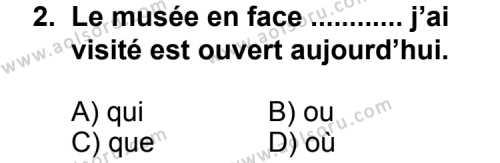 Fransızca 5 Dersi 2011 - 2012 Yılı Ek Sınav Soruları 2. Soru