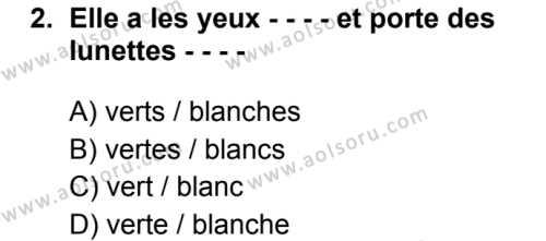 Fransızca 5 Dersi 2019 - 2020 Yılı 1. Dönem Sınav Soruları 2. Soru