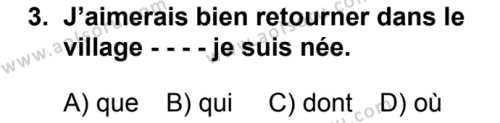 Fransızca 5 Dersi 2019 - 2020 Yılı 1. Dönem Sınav Soruları 3. Soru