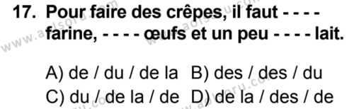 Fransızca 5 Dersi 2019-2020 Yılı 1. Dönem Sınavı 17. Soru