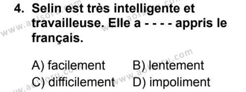 Fransızca 5 Dersi 2019 - 2020 Yılı 2. Dönem Sınav Soruları 4. Soru