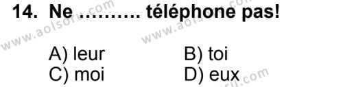 Fransızca 6 Dersi 2011-2012 Yılı 1. Dönem Sınavı 14. Soru