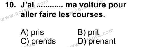 Fransızca 6 Dersi 2013-2014 Yılı 1. Dönem Sınavı 10. Soru