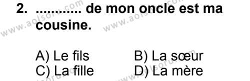 Fransızca 6 Dersi 2013 - 2014 Yılı 3. Dönem Sınav Soruları 2. Soru