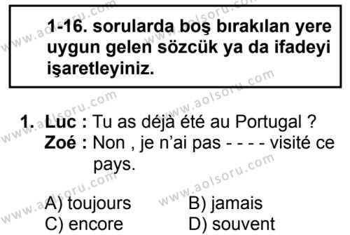 Fransızca 6 Dersi 2017-2018 Yılı 1. Dönem Sınavı 1. Soru