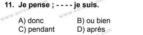 Fransızca 6 Dersi 2017-2018 Yılı 1. Dönem Sınavı 11. Soru
