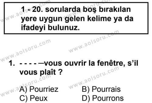 Fransızca 6 Dersi 2018 - 2019 Yılı Ek Sınav Soruları 1. Soru
