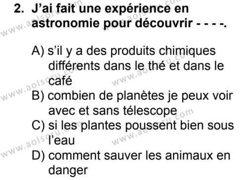 Fransızca 6 Dersi 2018 - 2019 Yılı Ek Sınav Soruları 2. Soru