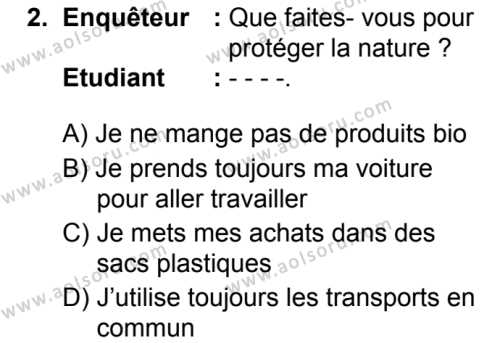 Fransızca 6 Dersi 2019 - 2020 Yılı 1. Dönem Sınav Soruları 2. Soru