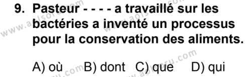 Fransızca 6 Dersi 2019-2020 Yılı 1. Dönem Sınavı 9. Soru