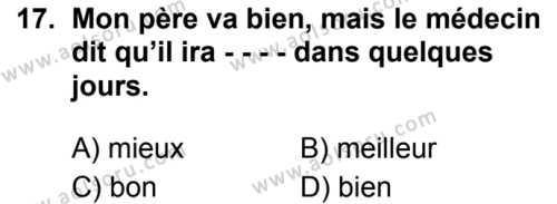 Fransızca 6 Dersi 2019-2020 Yılı 1. Dönem Sınavı 17. Soru