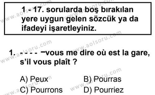 Fransızca 6 Dersi 2019 - 2020 Yılı 2. Dönem Sınav Soruları 1. Soru