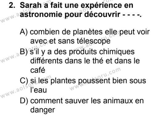 Fransızca 6 Dersi 2019 - 2020 Yılı 2. Dönem Sınav Soruları 2. Soru