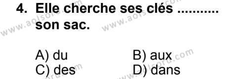 Fransızca 7 Dersi 2011 - 2012 Yılı Ek Sınav Soruları 4. Soru
