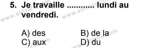 Fransızca 7 Dersi 2012-2013 Yılı 1. Dönem Sınavı 5. Soru