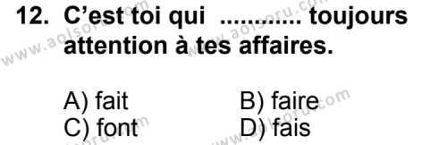 Fransızca 7 Dersi 2012-2013 Yılı 1. Dönem Sınavı 12. Soru