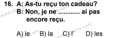 Fransızca 7 Dersi 2012-2013 Yılı 1. Dönem Sınavı 16. Soru