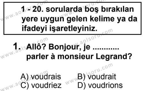 Fransızca 7 Dersi 2013 - 2014 Yılı 3. Dönem Sınav Soruları 1. Soru