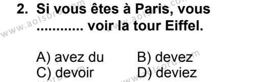 Fransızca 7 Dersi 2013 - 2014 Yılı 3. Dönem Sınav Soruları 2. Soru