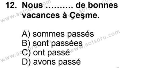Fransızca 7 Dersi 2014-2015 Yılı 1. Dönem Sınavı 12. Soru