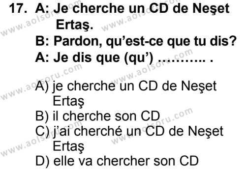 Fransızca 7 Dersi 2014-2015 Yılı 1. Dönem Sınavı 17. Soru
