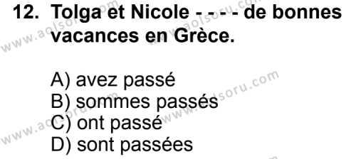 Fransızca 7 Dersi 2015-2016 Yılı 1. Dönem Sınavı 12. Soru