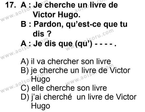 Fransızca 7 Dersi 2015-2016 Yılı 1. Dönem Sınavı 17. Soru