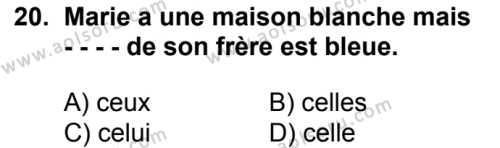 Fransızca 7 Dersi 2018-2019 Yılı 1. Dönem Sınavı 20. Soru