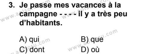 Fransızca 7 Dersi 2019 - 2020 Yılı 1. Dönem Sınav Soruları 3. Soru