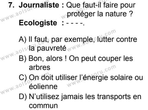 Fransızca 7 Dersi 2019-2020 Yılı 1. Dönem Sınavı 7. Soru