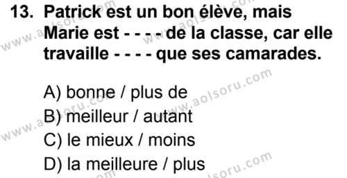 Fransızca 7 Dersi 2019-2020 Yılı 1. Dönem Sınavı 13. Soru